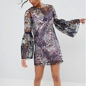 new ASOS embroidered mesh overlay dress us 4